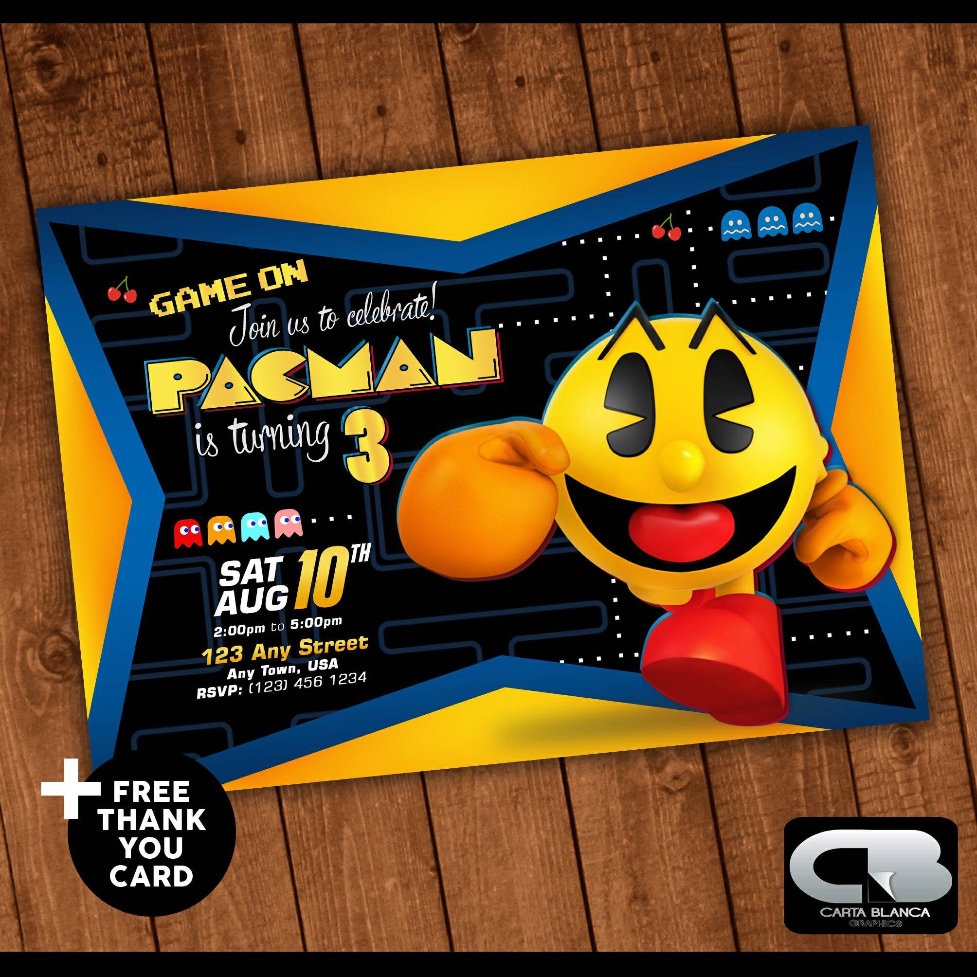 Pacman Invitation with FREE Thank You Card Invite Pacman