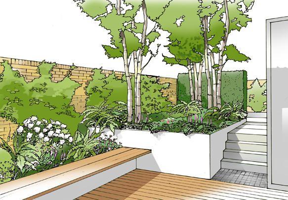 Regents Park Concept Drawing: Rear Garden View 1