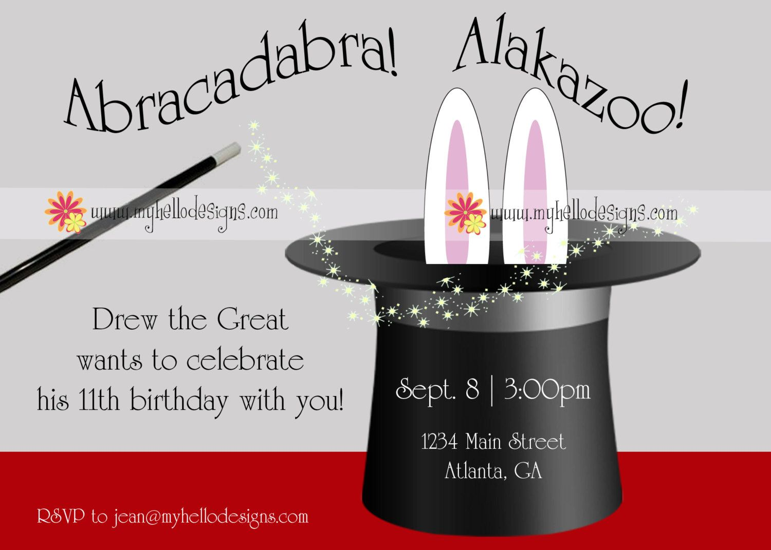 Birthday Invitations Magic with Hat Bunny 1500 via Etsy – Magic Party Invitations
