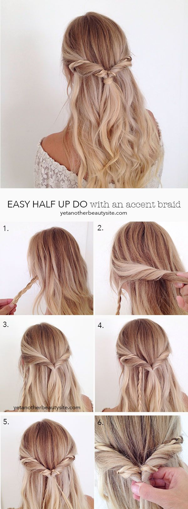 easy hair tutorial: half up do with an accent braid, such a