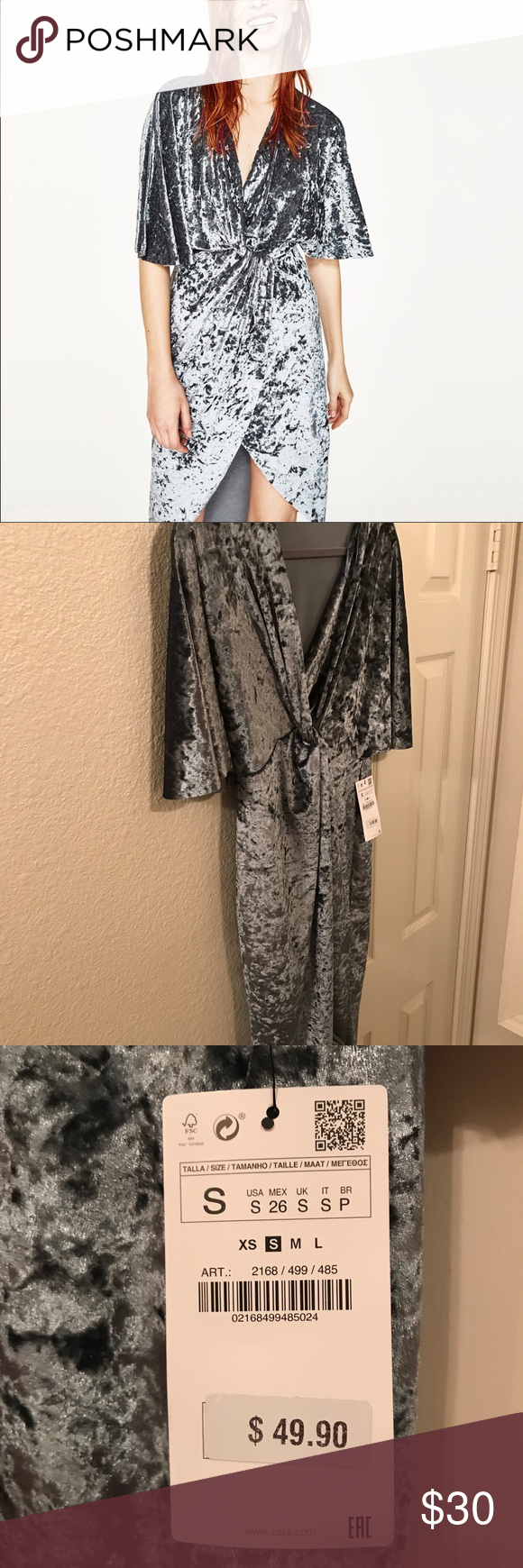 92d3ef86 Zara Velvet Crossover Dress Never been worn! Sexy velvet dress perfect for  nights out, weddings and classy events. Color is a blue grey.