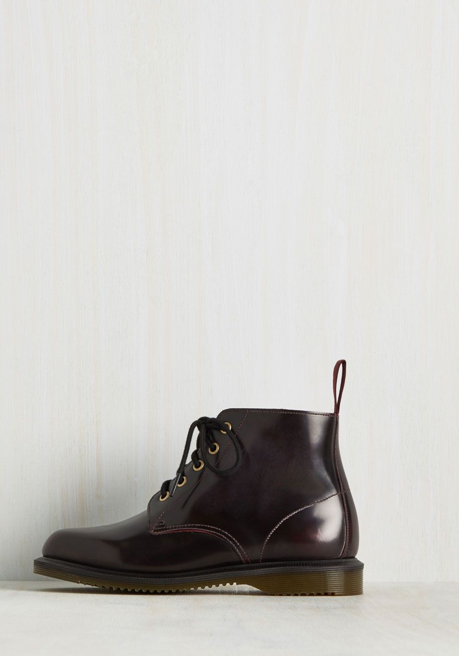Best-Supporting Lacquer Bootie. And the award for the greatest style-bolstering boots goes to - these dark burgundy booties from Doctor Martens! #red #modcloth