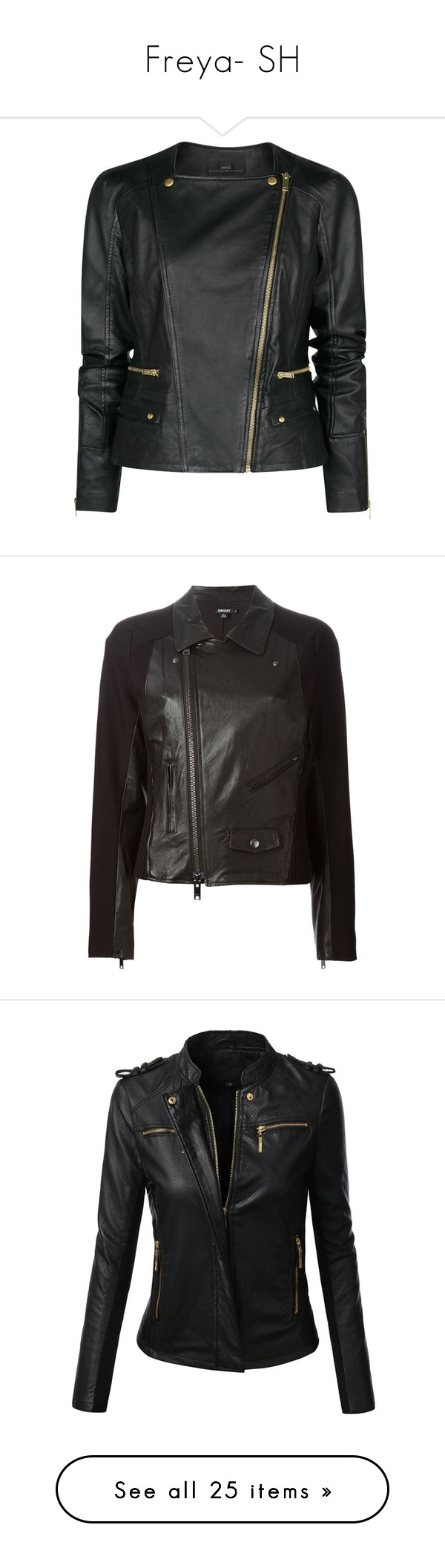 """Freya- SH"" by inestrindade on Polyvore featuring outerwear, jackets, leather jacket, coats, black, leather jackets, leather motorcycle jacket, asymmetrical zipper jacket, leather biker jacket and moto jacket"