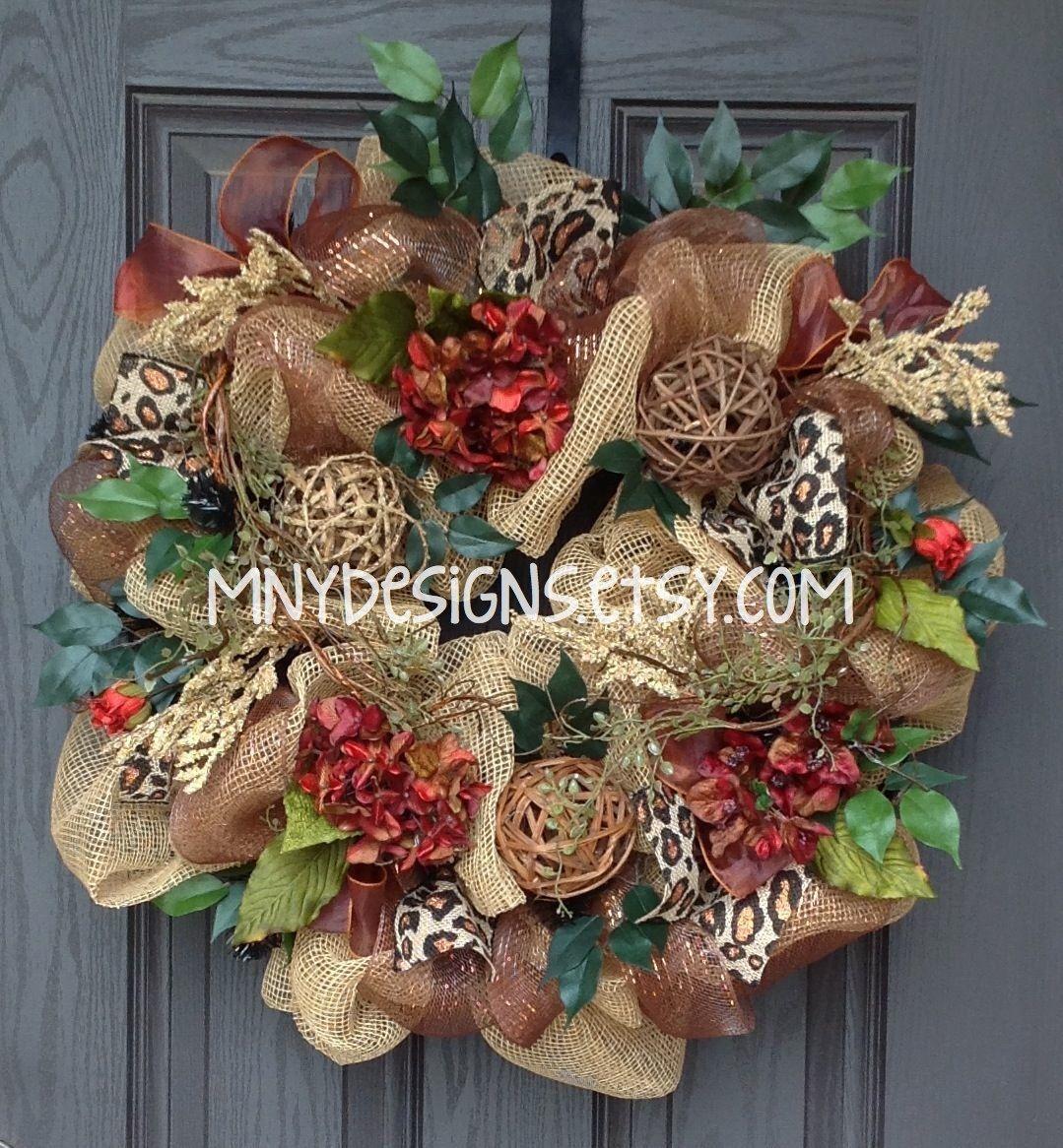 Indoor Wreaths Home Decorating: Burlap Wreath With Leopard Burlap Ribbon, Indoor/Outdoor