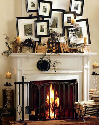 halloween mantle--love the wacky pictures mantles Pinterest - halloween decoration ideas home