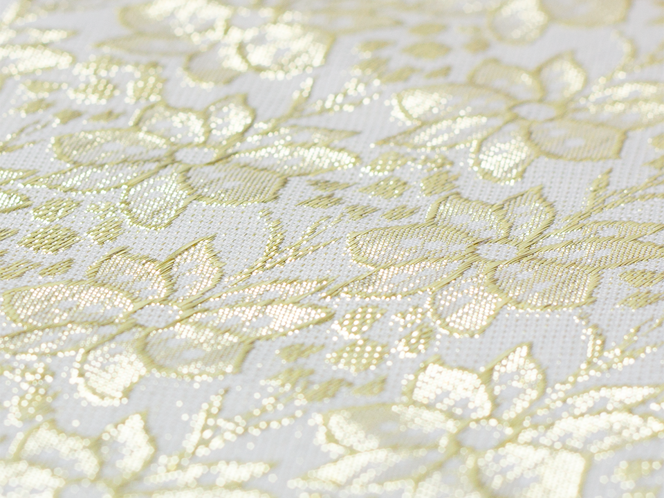 Golden Flowers on White Background - 100% polyester