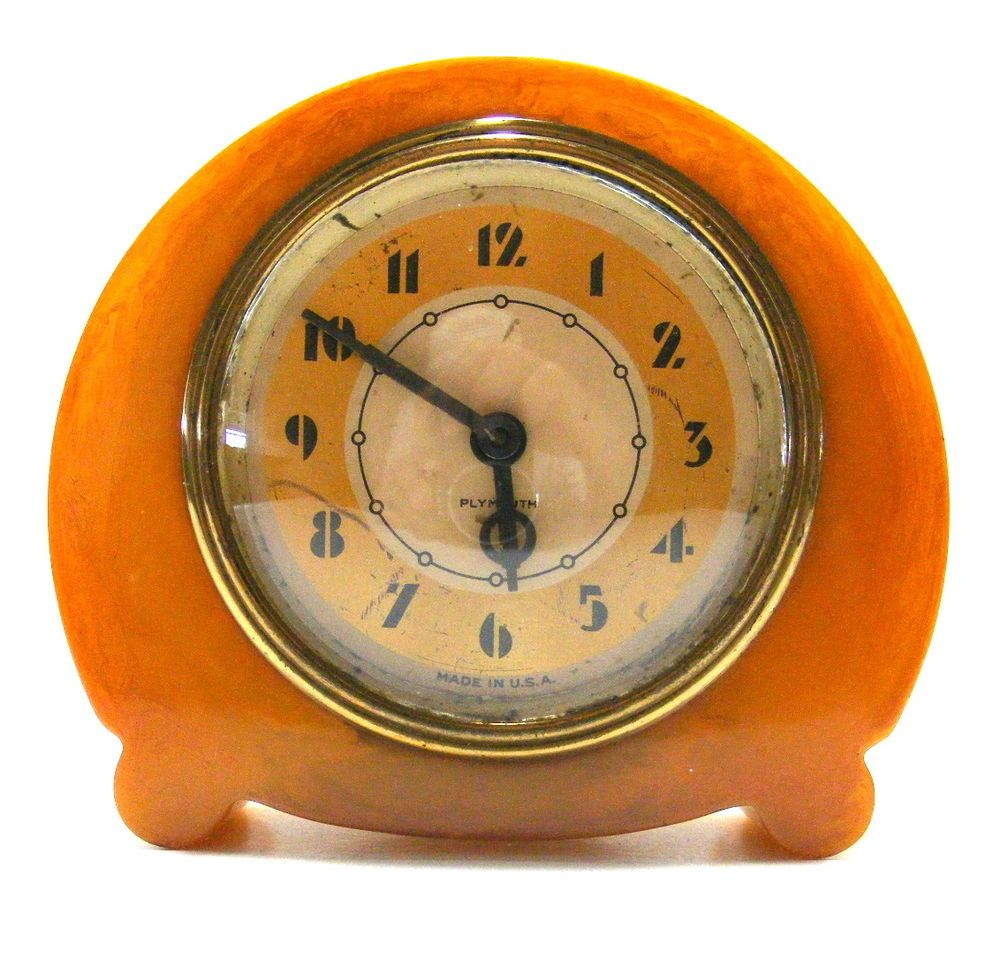vintage art deco bakelite catalin 8 day plymouth clock co clock usa art deco clocks pinterest. Black Bedroom Furniture Sets. Home Design Ideas