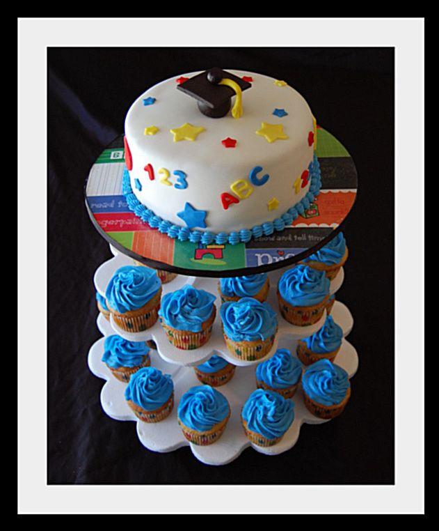 preschool graduation cake and cupcakes