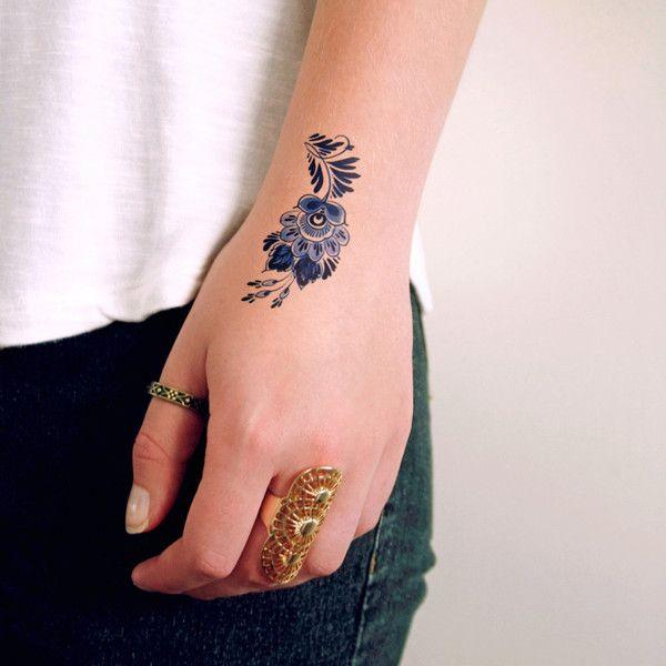 Small Delft Blue flower tattoo