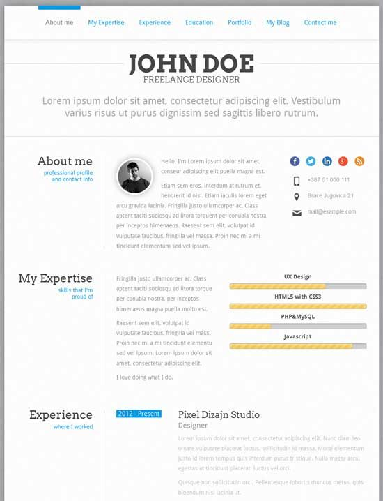 20 creative resume cv wordpress themes resume webdesign wordpress - Wordpress Resume Template