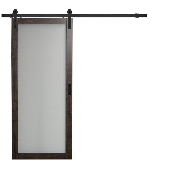 Hanging Sliding Barn Doors Iron Aged Grey Finish With Frosted