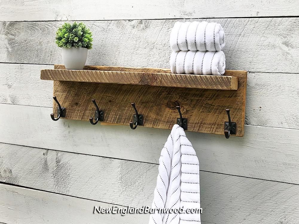 Newenglandbarnwood Combine Vintage And Modern Rustic Style Charm With This Stylish And Func Bathroom Shelves For Towels Towel Rack Bathroom Diy Bathroom Decor