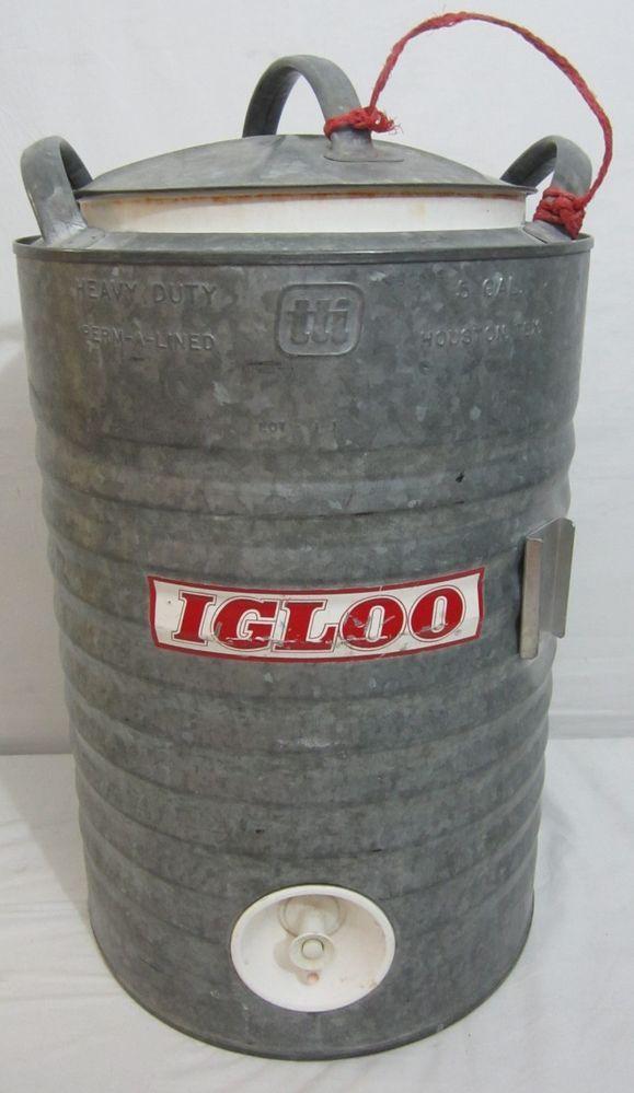 Vintage Igloo 5 Gallon Water Cooler Galvanised Metal Permalined Push Dispenser #Igloo
