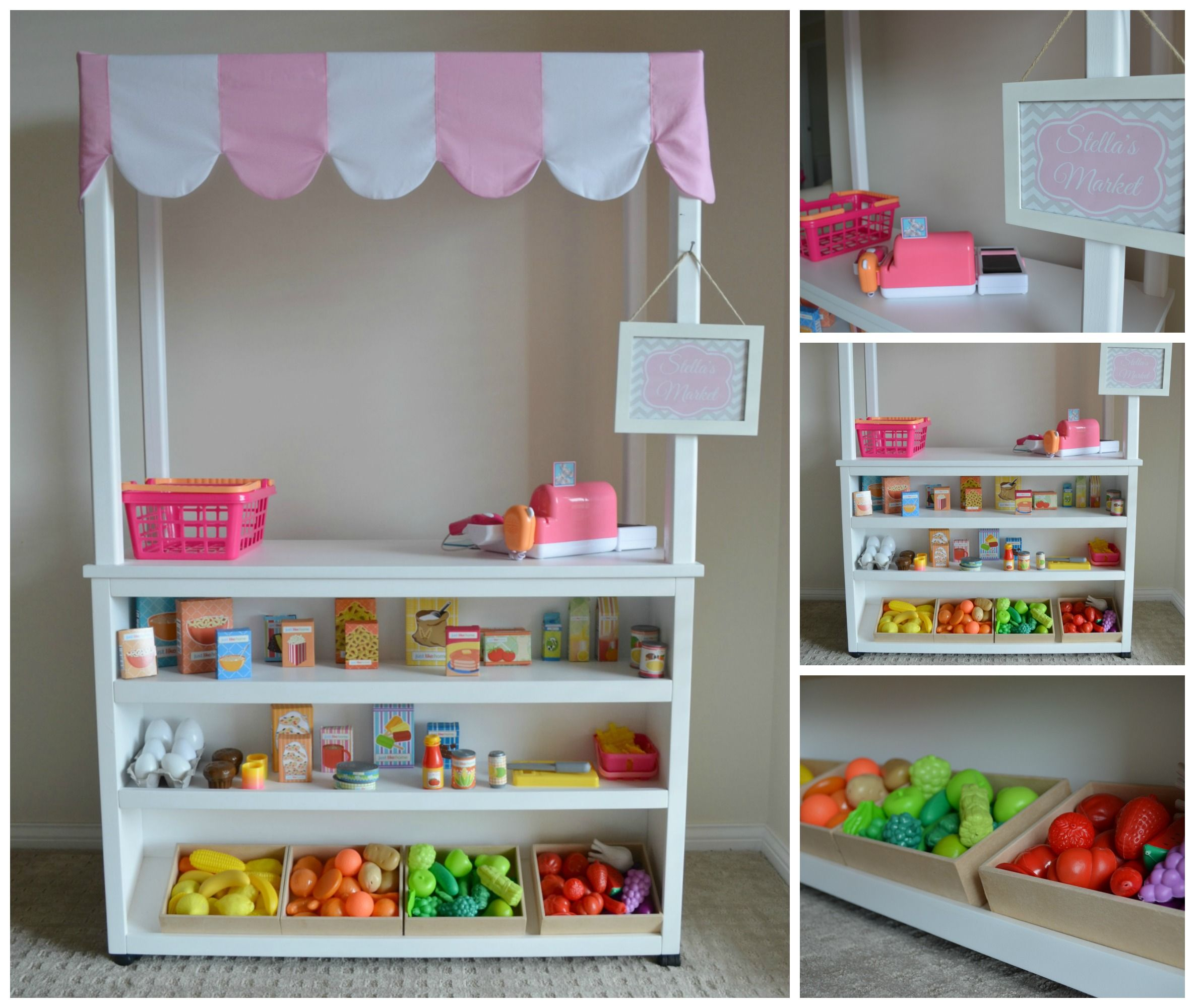Kid Cafe Furniture: Pretend Play Supermarket Shop. Market Stall, Kids Play