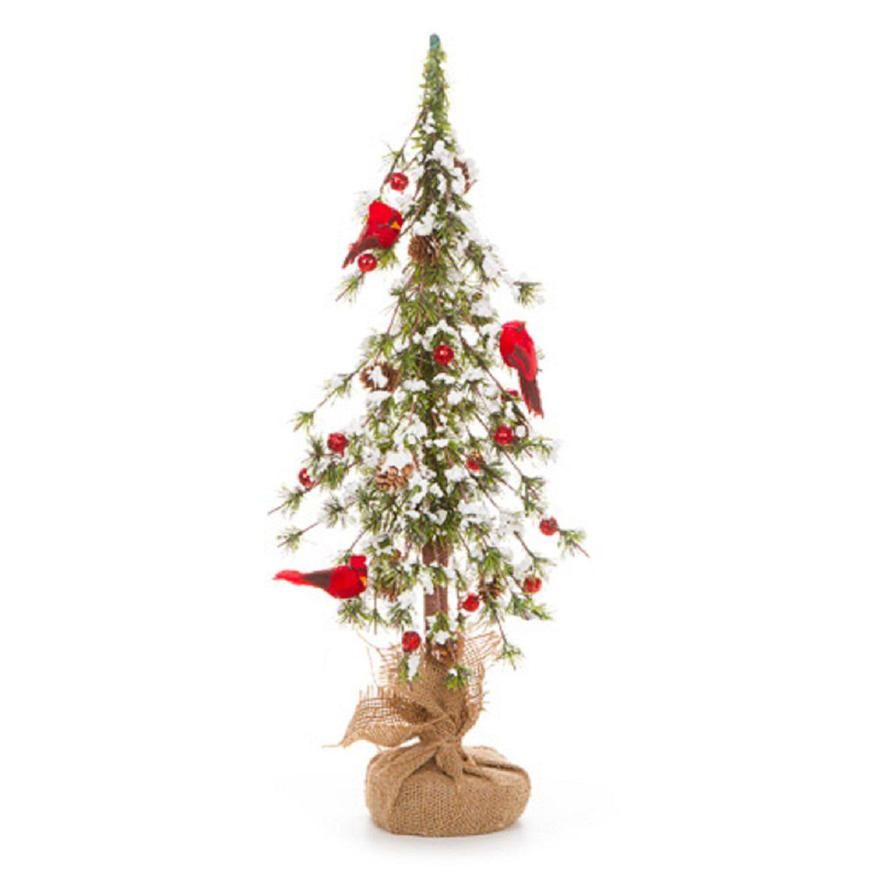 Artificial Christmas Trees Cardinal Red Pine Cones With Berries And Snow Unlit For Home Decor Burlap Christmas Tree Christmas Decorations Small Christmas Trees