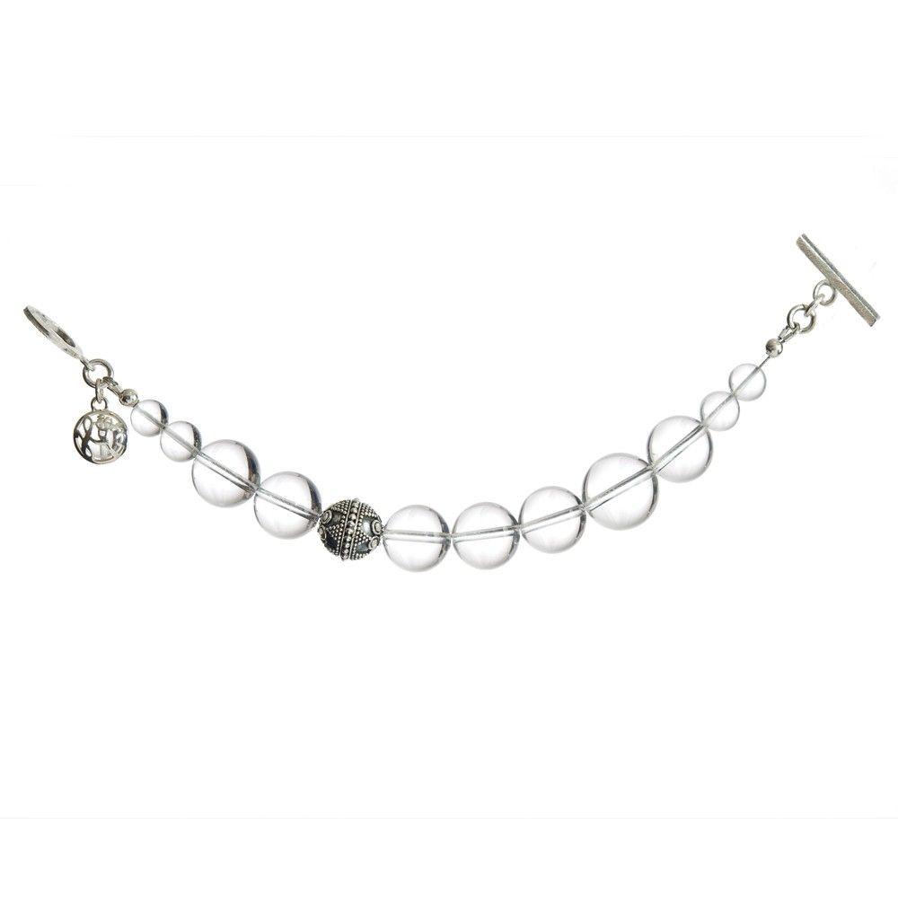 // Quartz and Bali Bead Gemstone Bracelet