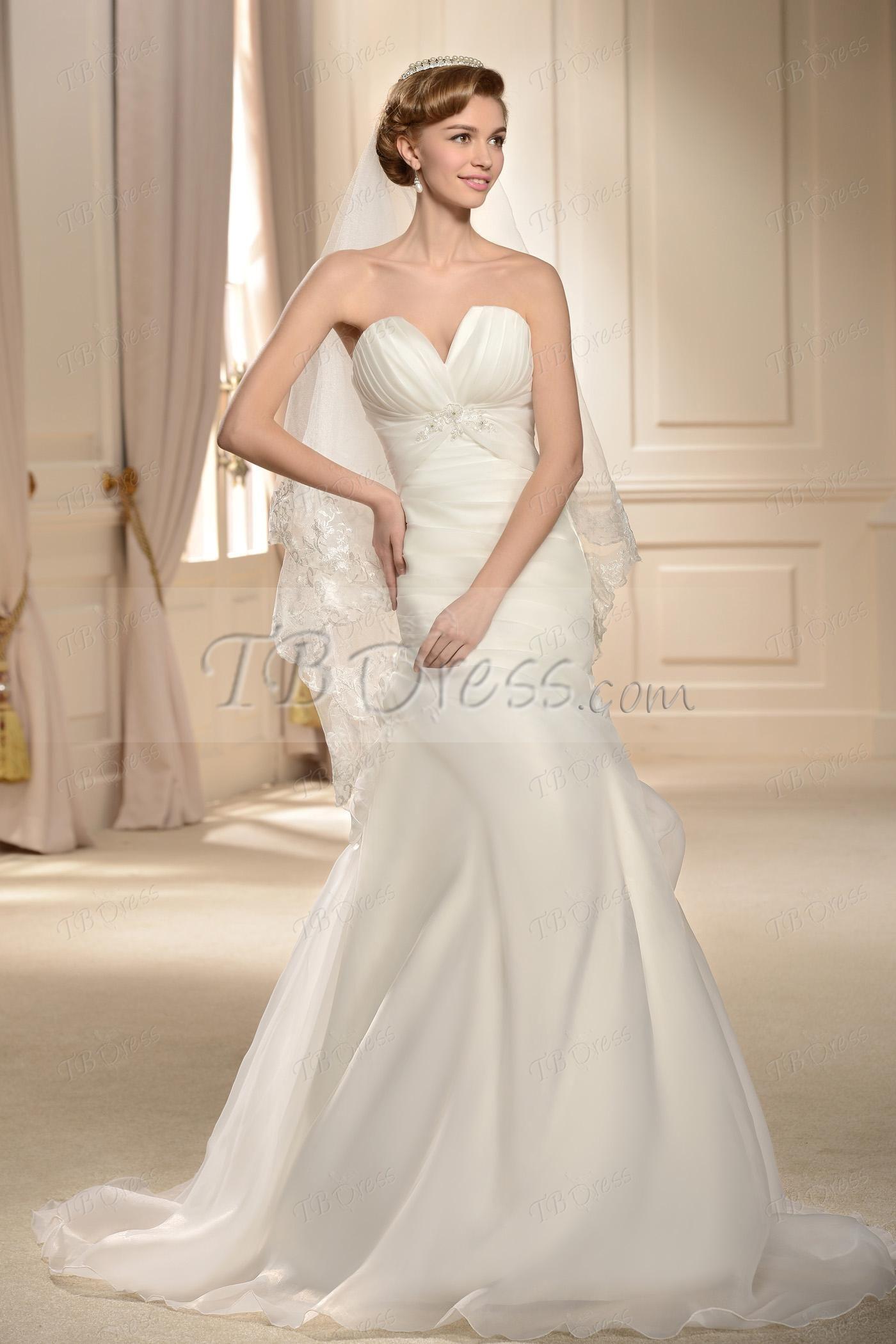 Trumpet style wedding dresses  Terrific Strapless Aline Floorlength Ruched Court Wedding Dress