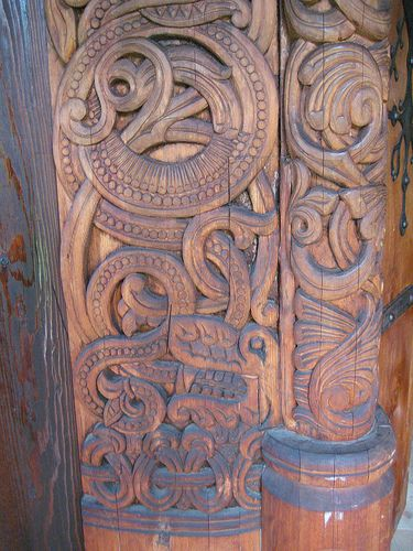 Detail of carving on norwegian stave church patterns viking