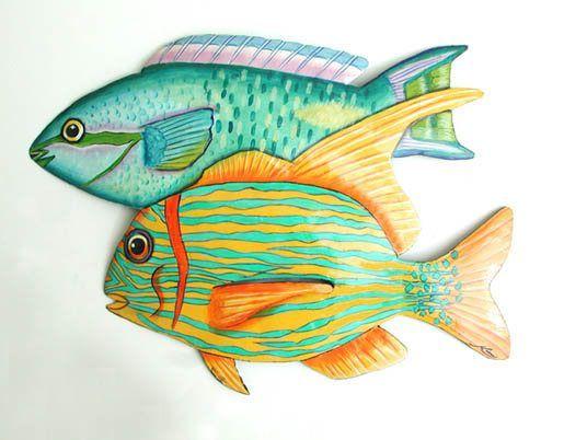 Metal Wall Art Tropical Fish Wall Hanging 14 Fish Painted Metal