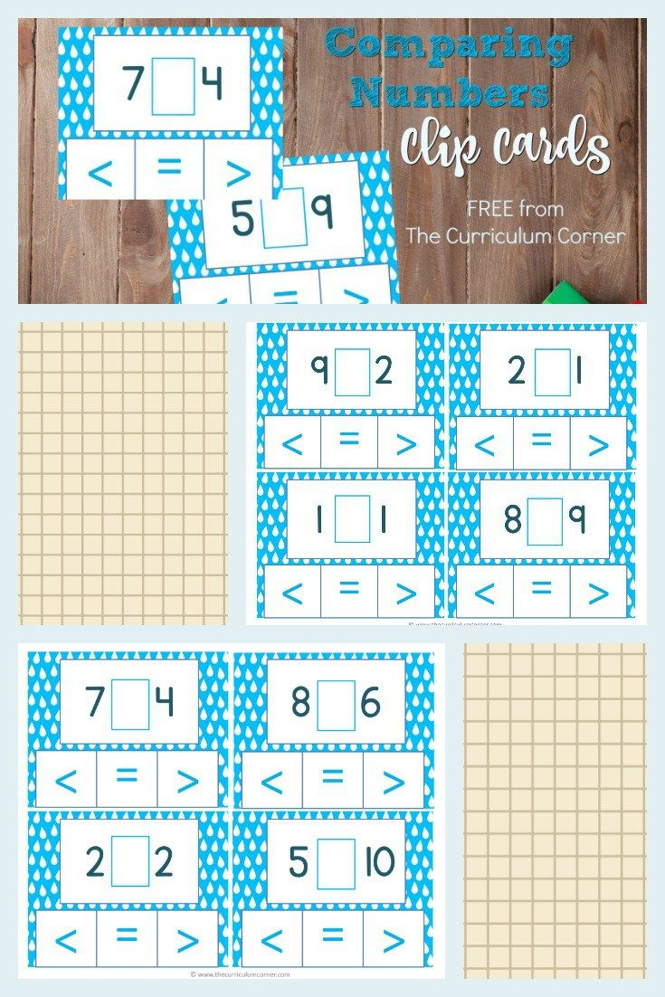 Comparing Numbers Clip Cards   Comparing numbers, Curriculum and Number