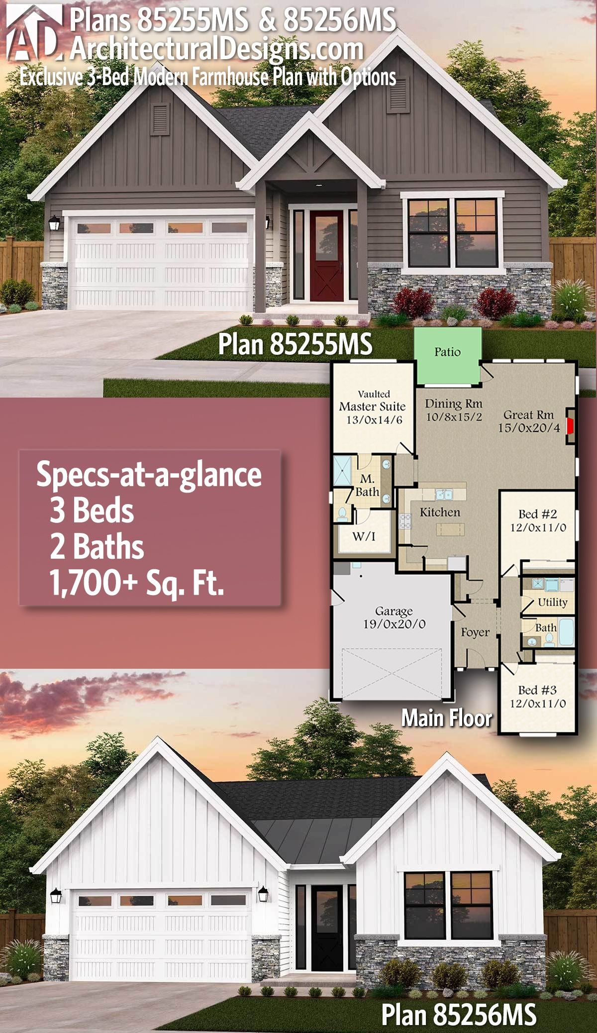 Architectural Designs Exclusive Affordable Farmhouse Plan 85255ms 85256ms 3 Beds 2 Baths Affordable House Plans Farmhouse Plans Modern Farmhouse Plans