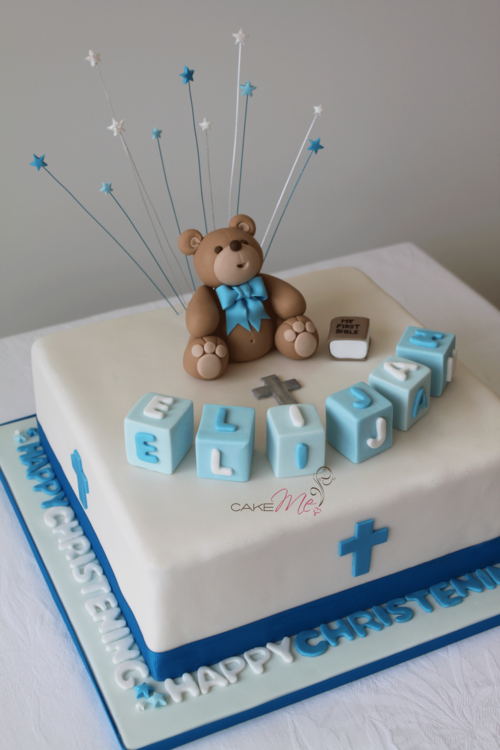 Christening Cake For Baby Boy Complete With Fondant Teddy