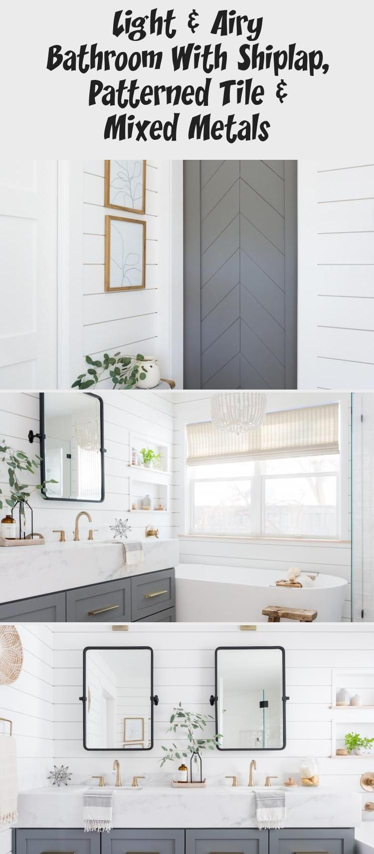 Photo of Light & Airy Bathroom With Shiplap, Patterned Tile & Mixed Metals – Decoration