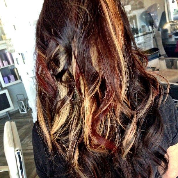 Red Blonde Brown Peekaboos Funky Curly Hair Brown Hair Dye