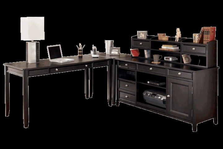 Ashley desk from carlyle collection has lots of pieces
