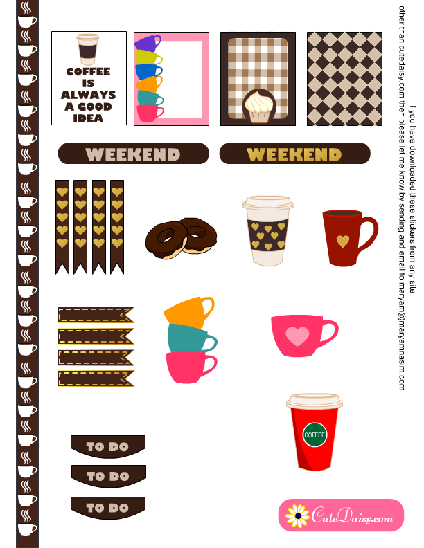 Coffee Mug Planner Stickers Coffee Cup Agenda Calendar Happy Planner Erin Condren