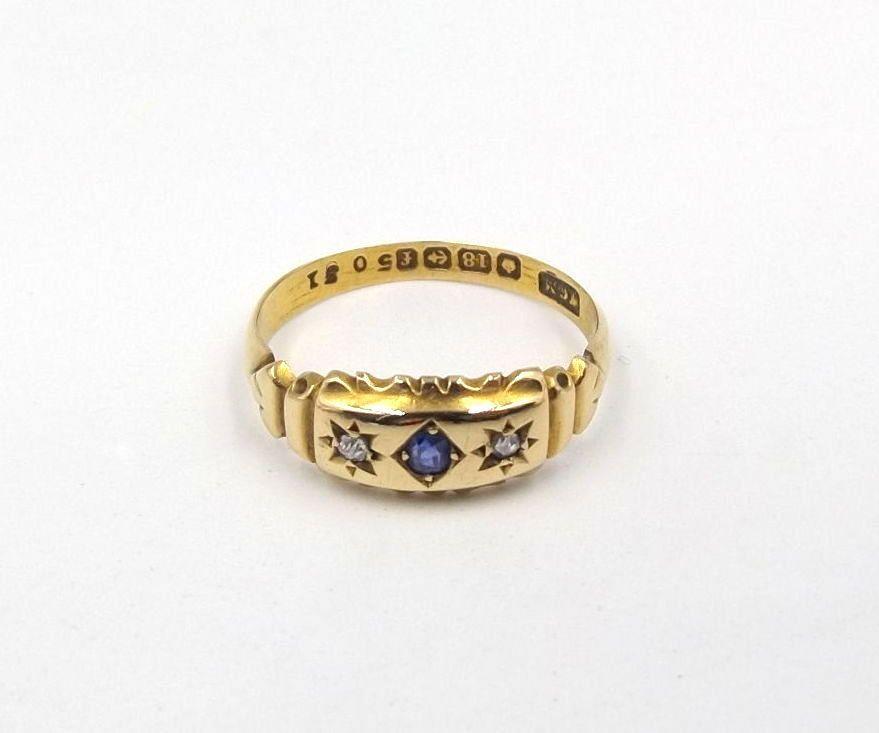 dbdd6c5aaf7e1 Edwardian 18ct Gold Diamond & Sapphire Ring | Antique 18k Gypsy Set ...