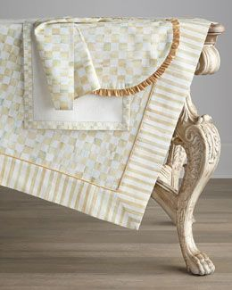 Mackenzie Childs Parchment Stripe Outdoor Fabric Remnant