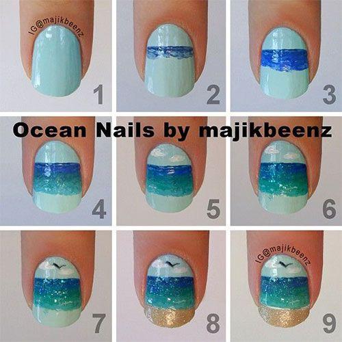 nice DIY Ocean/beach nails Sky
