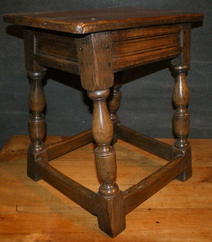 Late 19th C English oak joint stool. 1880