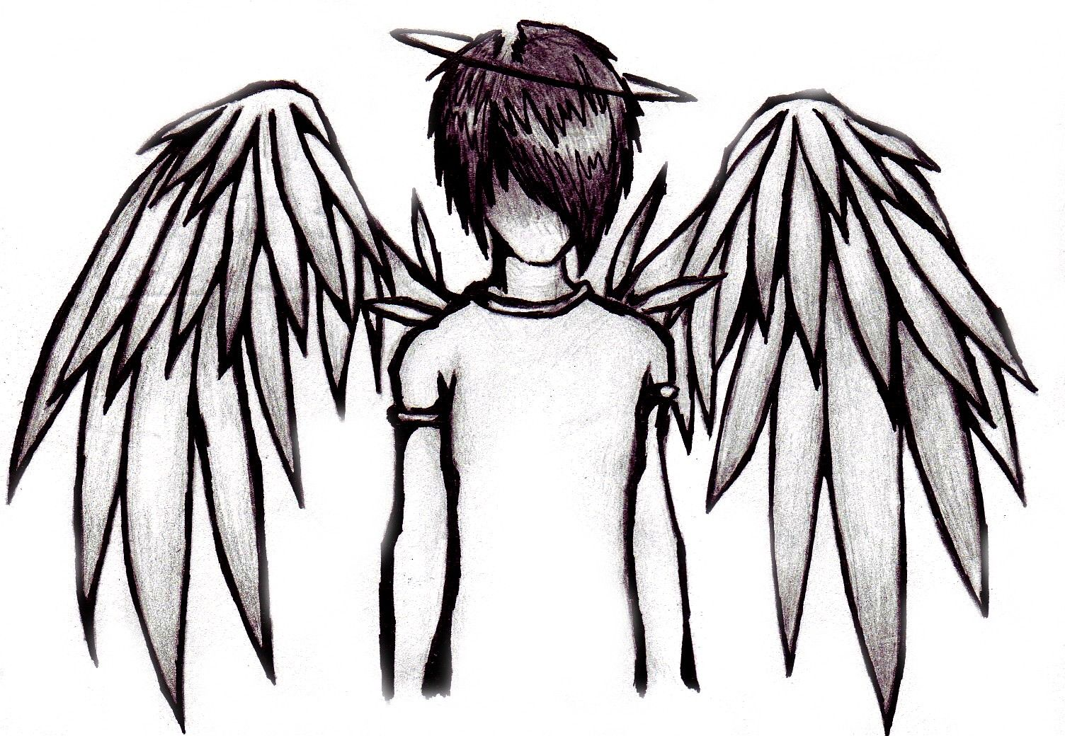 Boy emo angel drawings clipart best