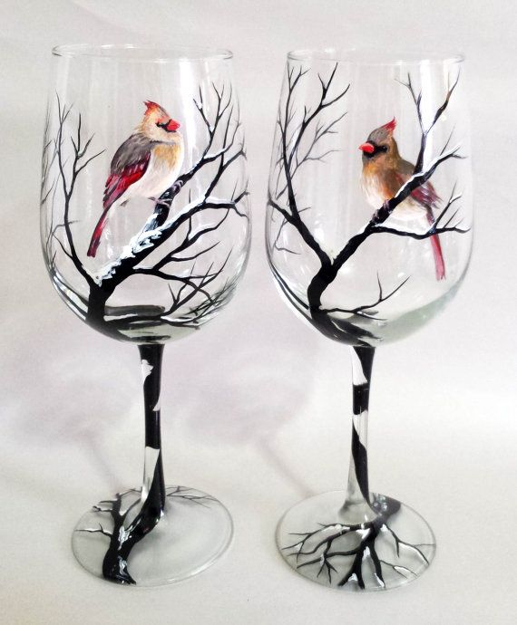 Cardinal snowy tree branches hand painted wine glass for How to paint a wine glass with acrylics