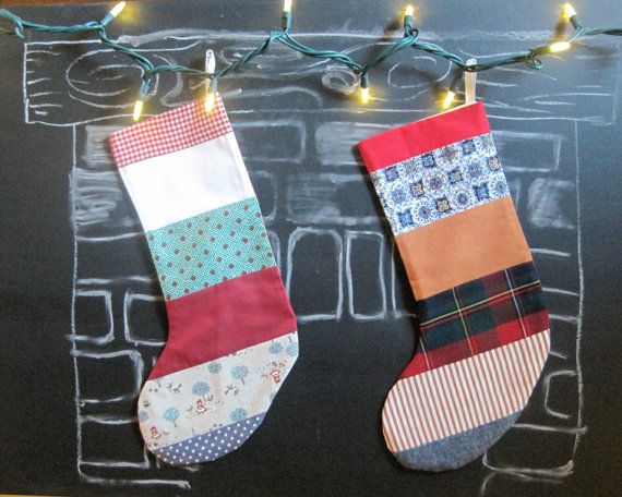 Eco-Friendly Christmas Stocking - Modern Patchwork Family Stockings - Winter Holidays Home Decor -