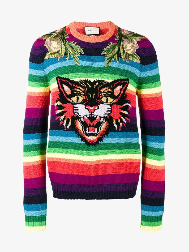 8587f345775 GUCCI ANGRY CAT RAINBOW SWEATER. #gucci #cloth # | Gucci Men in 2019 ...
