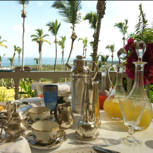 Elegant breakfast service at The Peninsula House, Dominican Republic. From my visit in Aug 2011.