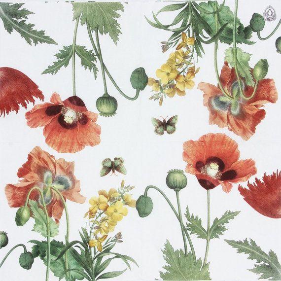 Twp (2) Poppy Garden Paper Napkins, Poppy Napkins for Decoupage, 2 Poppy Napkins for Mixed Media Art
