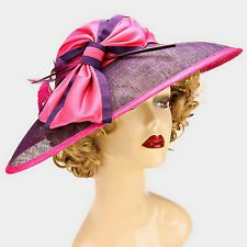 Sinamay Purple Pink Dress Hat Woman Church Derby Wedding Feather Spray Wide Bow