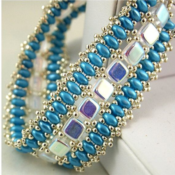 Czechmate and Super Duo bracelet in Aqua, White and Silver