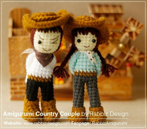 ♡.·° THIS IS CROCHET PATTERN ONLY - NOT A FINISHED TOY ♡.·°  This Amigurumi Country Couple Pattern created by Rabbiz Design provides you with cowboy