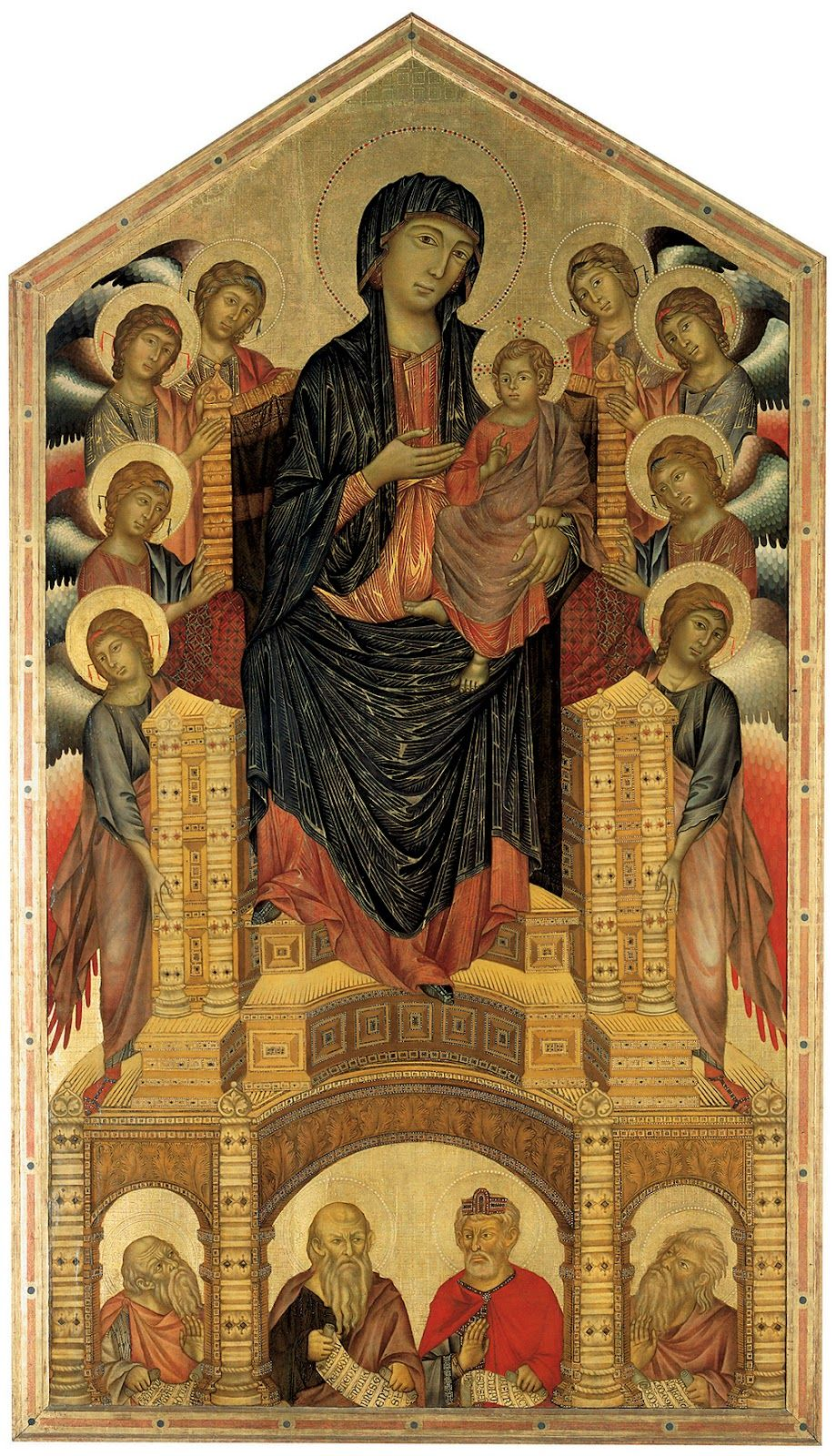 Cimabue - Virgin and Child enthroned with saints and ...