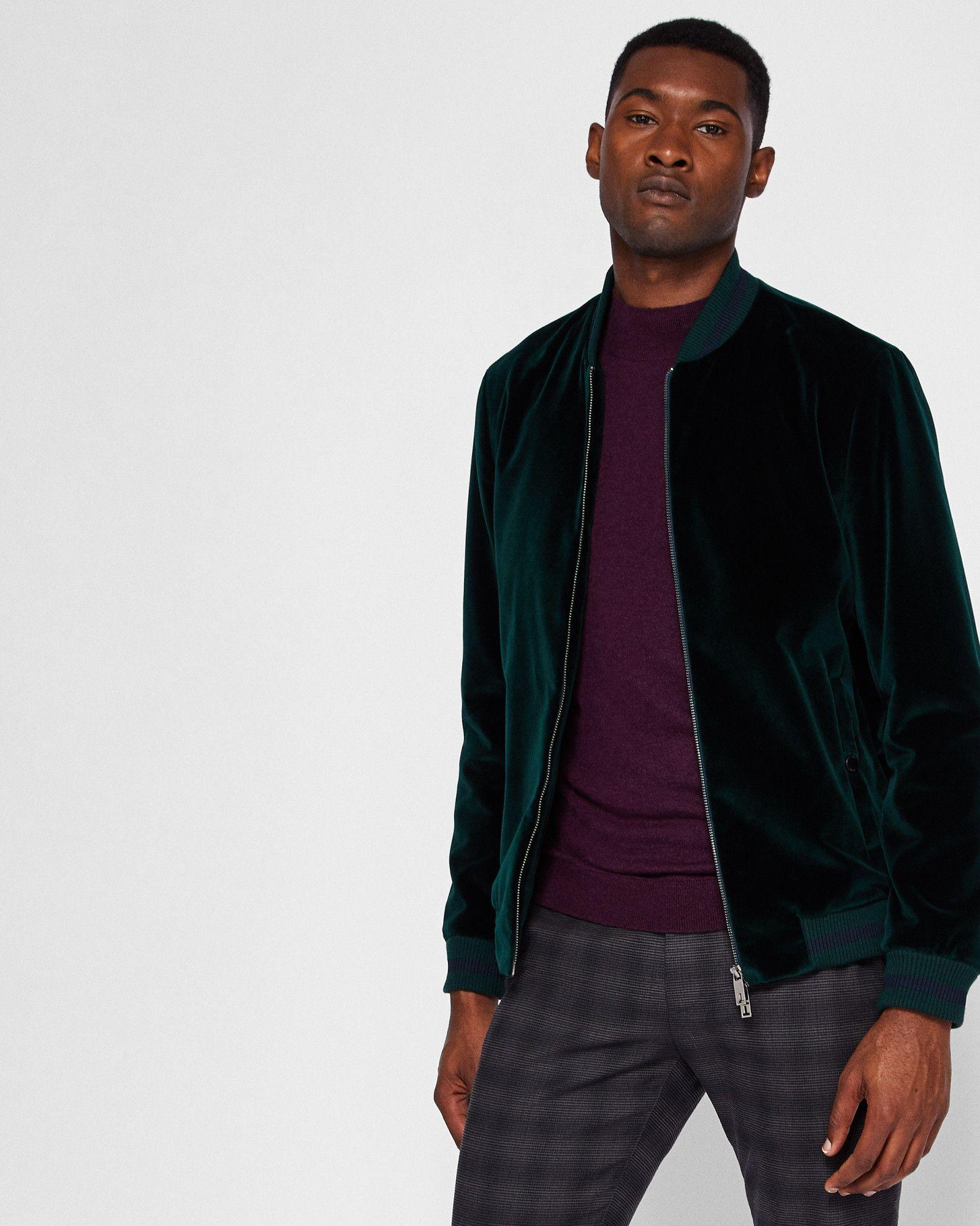 cd495046be9 Ted Baker Velvet bomber jacket Dark Green