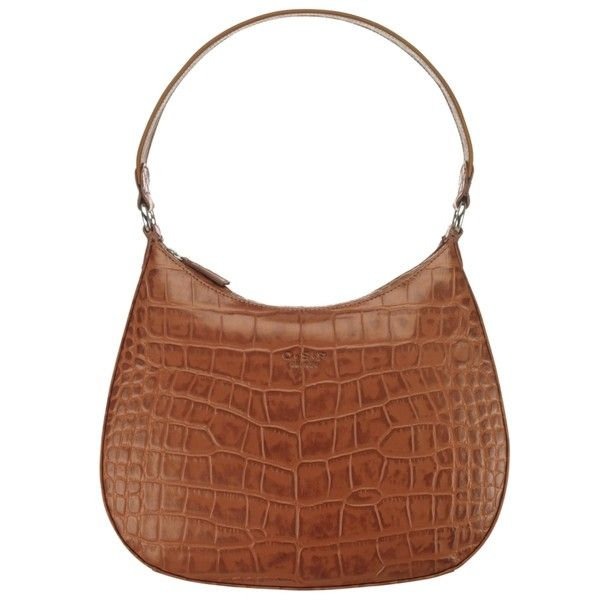 O S P Osprey Dusseldorf Croc Shoulder Handbag Brown