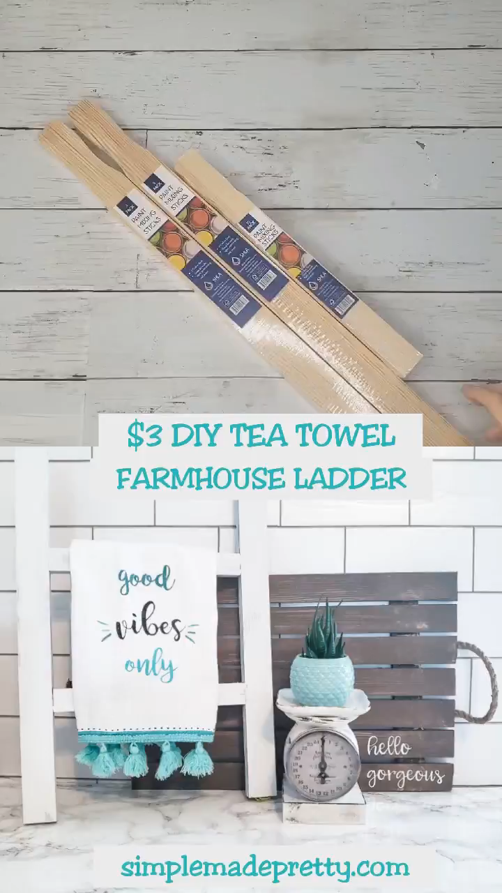 DIY Dollar Store Farmhouse Ladder - Tea Towel Ladd