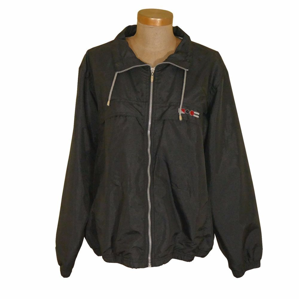 Catalina Windbreaker Jacket Xl 16 18 Black Lined Full Zip Vintage Womens Windbreaker Jacket Coats Jackets Women Vintage Ladies [ 1000 x 1000 Pixel ]