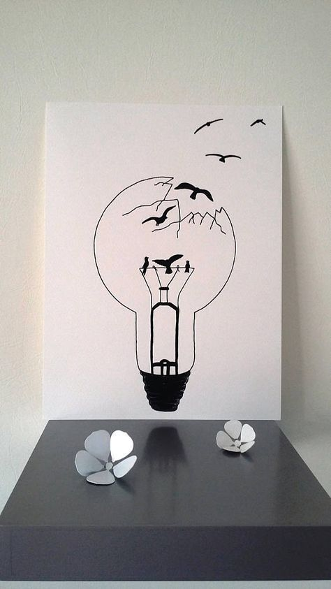 """Poster Illustration black and white bulb """"sweetheart freedom""""   Dessin ampoule, Illustration ..."""