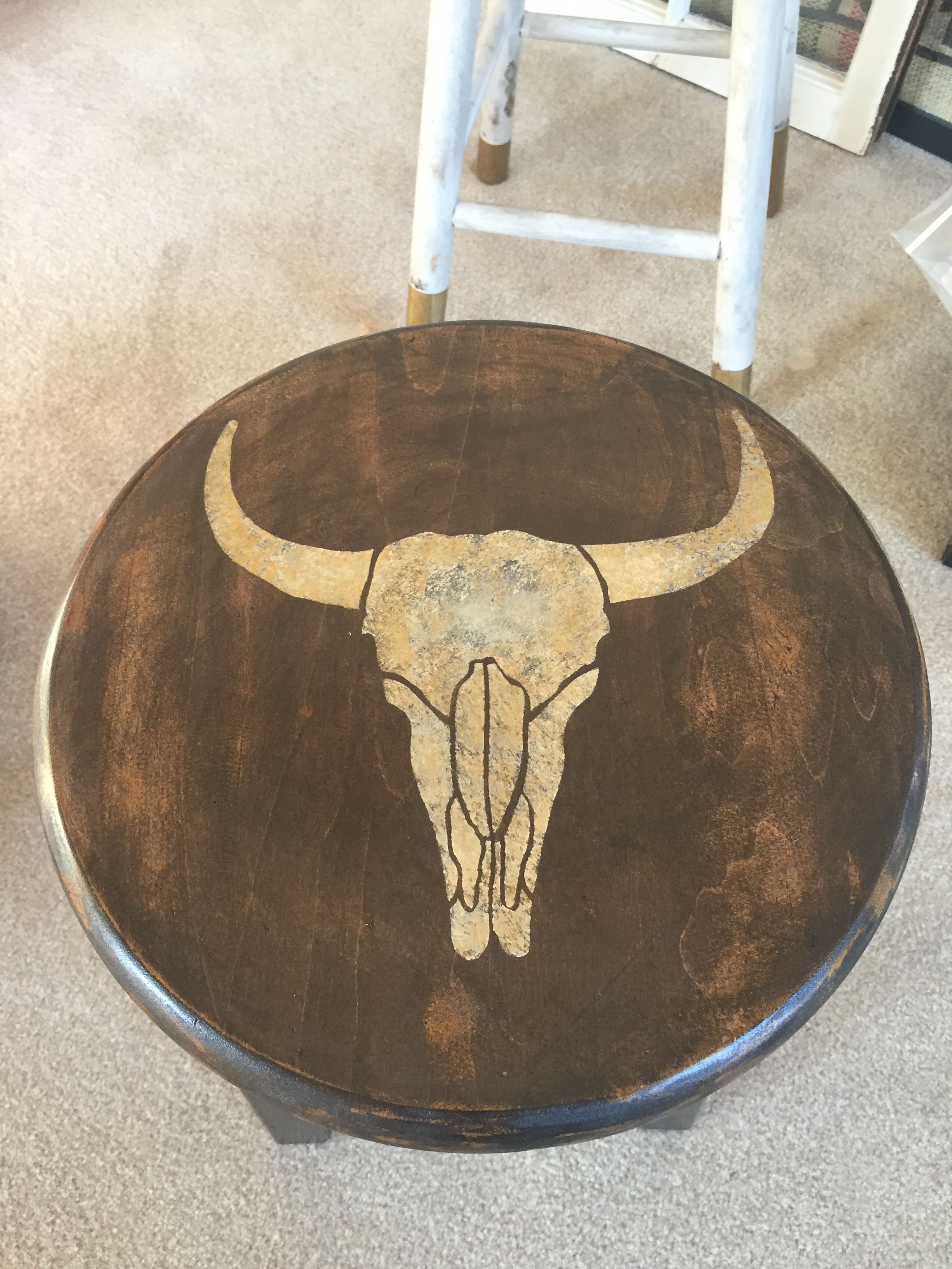 Awesome Stenciled Ivory Gold Bull Skull On Dark Stain I Made It Pdpeps Interior Chair Design Pdpepsorg